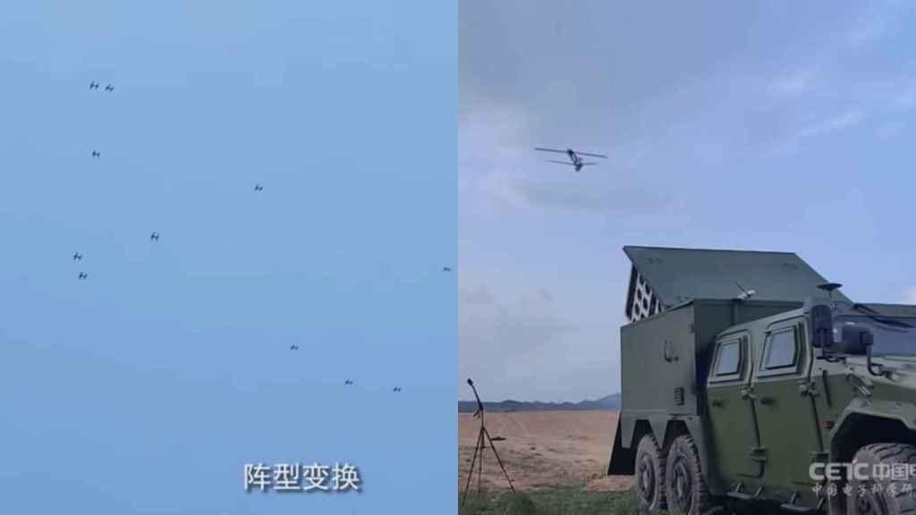 Drones suicidas después de ser disparados por un vehículo