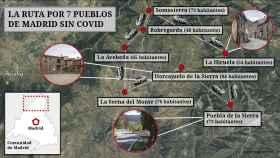 Los pueblos con menos habitantes de la Comunidad de Madrid no tienen casos de Covid. Mapa: Jorge Barreno (EL ESPAÑOL)