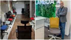 A la izquierda, las sillas de la tienda Triángulo 2.000. A la derecha, Rafael Robles, de Lambda3, junto a su silla más vendida.