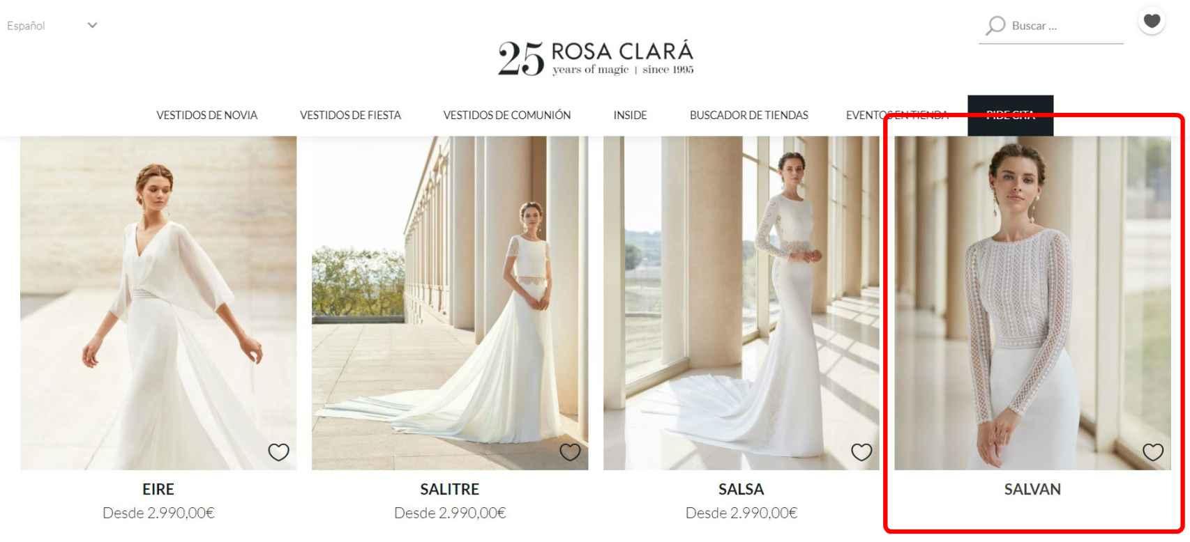 El diseño de Xisca, curiosamente, es el único que no presenta precio en la web oficial de Rosa Clará.