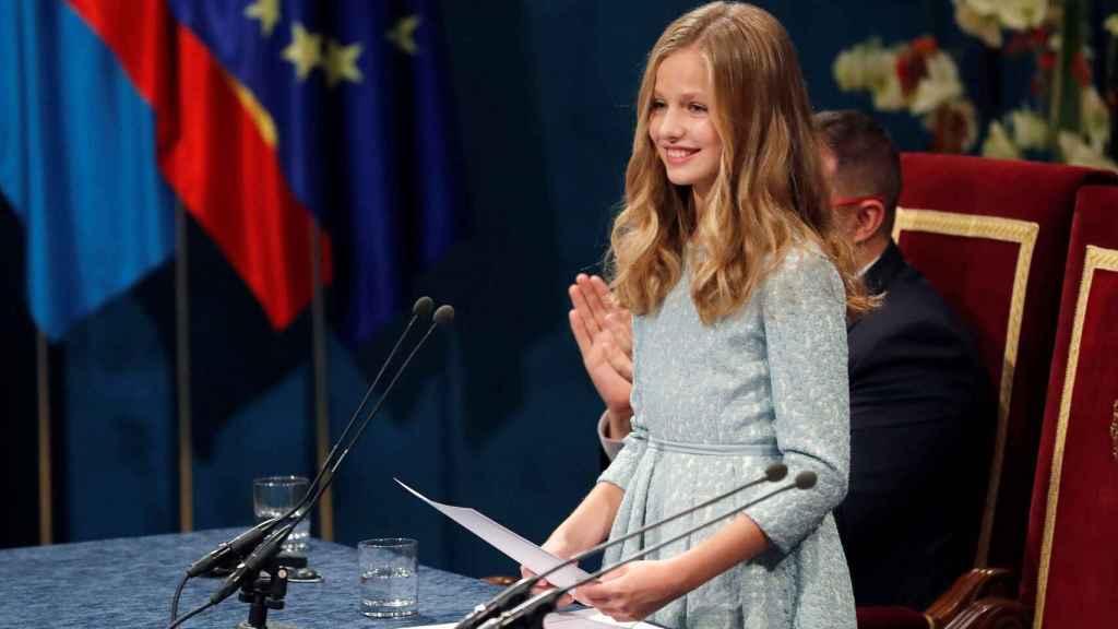 La princesa de Asturias pronunciando su primer discurso en los Premios Princesa de Asturias de 2019.