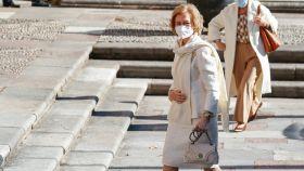 La reina Sofía, este viernes a su llegada a la Fundación Princesa de Asturias.