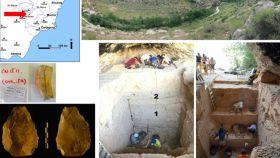 Localización de la cueva y el hacha prehistórica.
