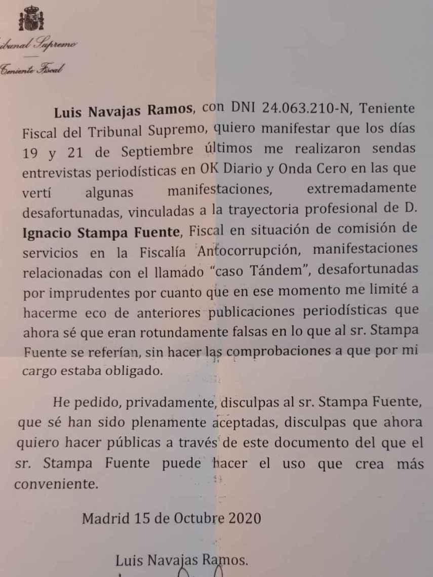 Escrito de disculpa de Luis Navajas a Ignacio Stampa.