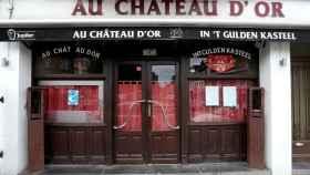Un bar cerrado en Bruselas por la segunda oleada de Covid-19.