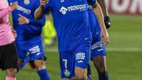 Jaime Mata celebra su gol ante el Barça
