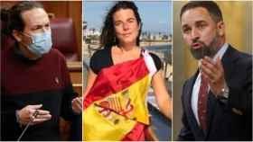 Pablo Iglesias, Cristina Gómez y Santiago Abascal.