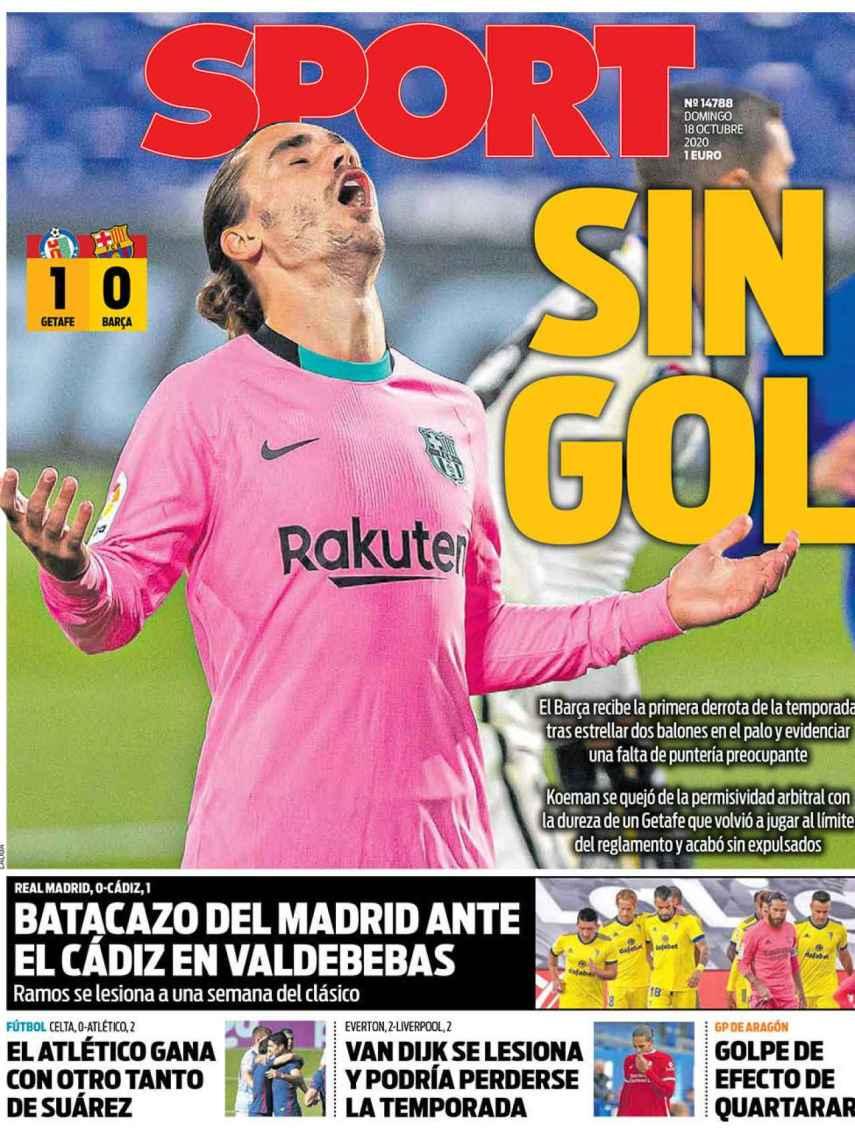 La portada del diario SPORT (18/10/2020)
