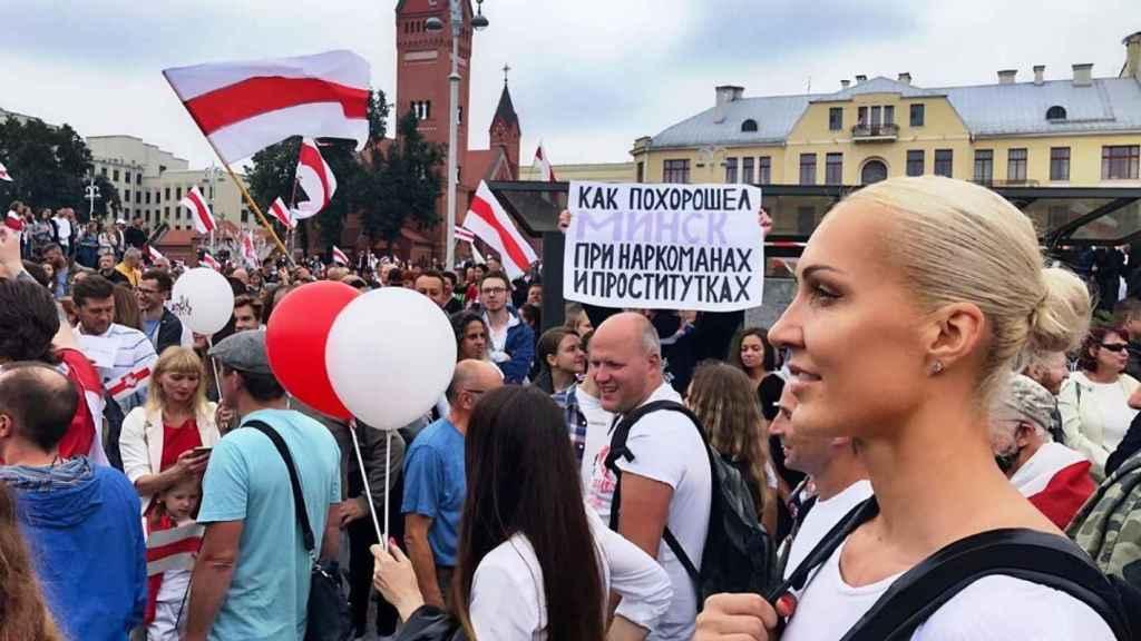 Yelena Levchenko en una manifestación en Bielorrusia