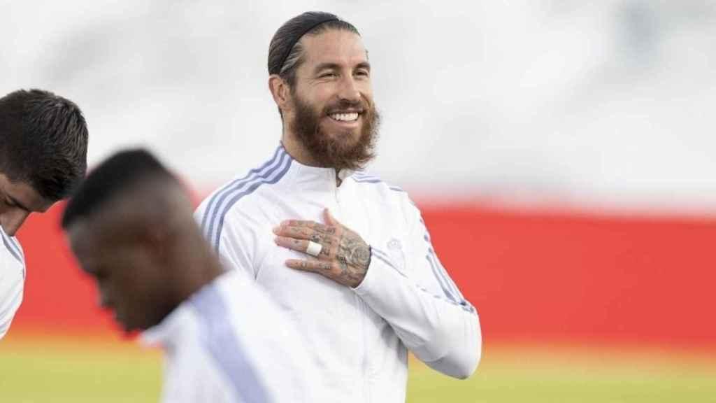 Sergio Ramos antes del partido entre el Real Madrid y el Cádiz CF de La Liga