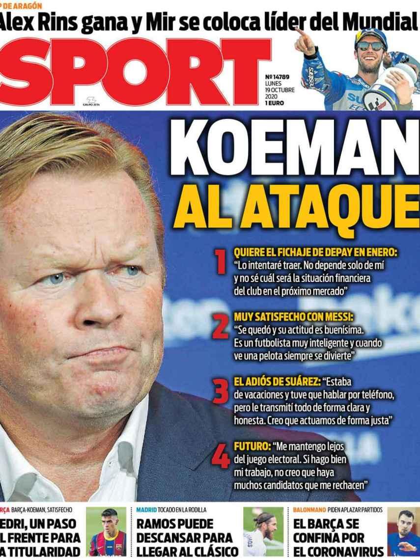 La portada del diario SPORT (19/10/2020)