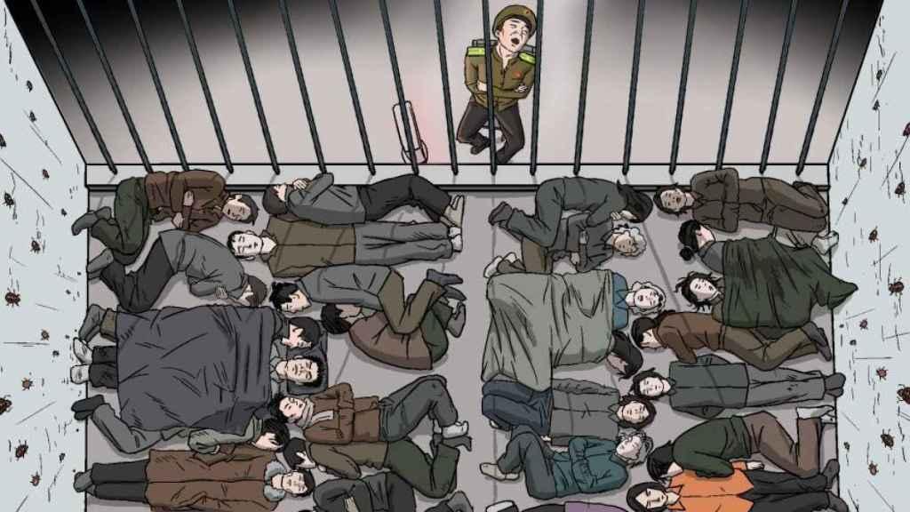 Dibujo de un centro de detención e interrogación preventiva.