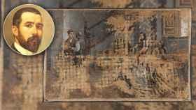 Adolfo Sánchez Megías y su cuadro 'La marcha del soldado', atribuido hasta hace unos días a Concepción Mejía de Salvador.