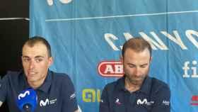 Enric Mas y Alejandro Valverde, en la rueda de prensa previa a La Vuelta 2020