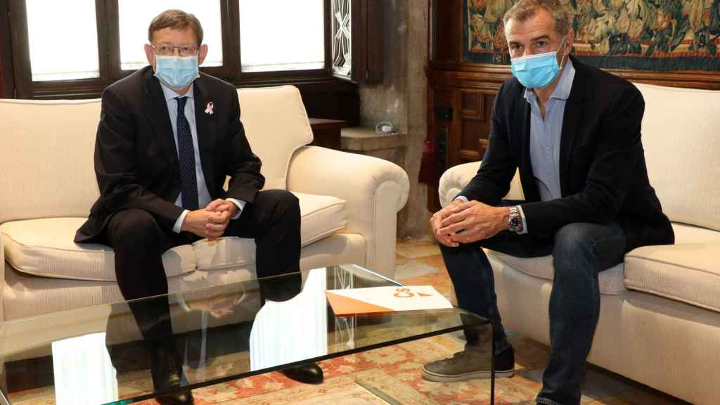 Ximo Puig y Toni Cantó, este lunes en el Palau de la Generalitat.