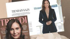 Imagen de la revista donde aparece la primera ministra finlandesa con un escote.
