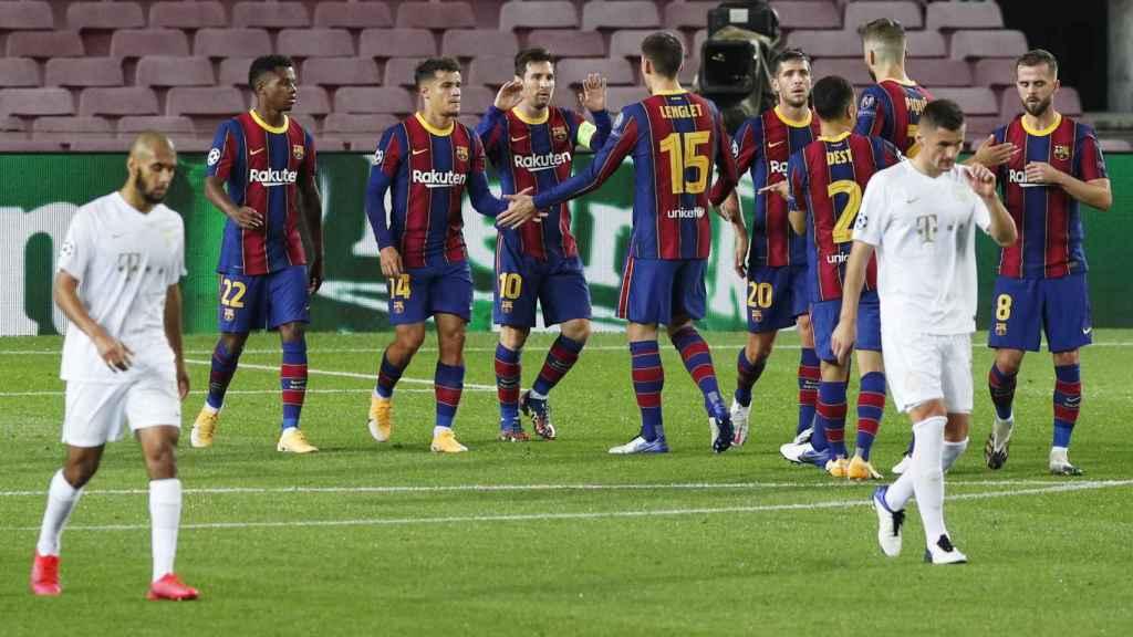 Celebración de los jugadores del Barça por el gol de Messi en la Champions League 2020/2021