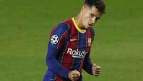 Coutinho celebra un gol con el Barcelona en la Champions League 2020/2021
