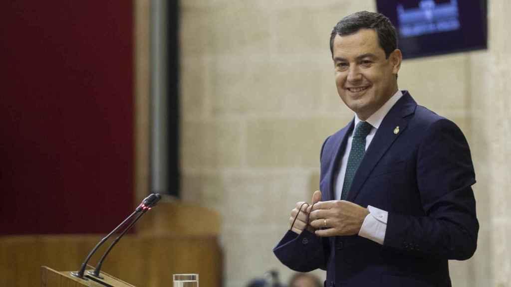 El presidente de la Junta de Andalucía, Juanma Moreno, en el Debate de la Comunidad.