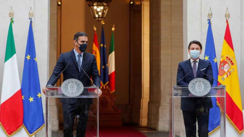 Pedro Sánchez y Giuseppe Conte comparecen de forma conjunta desde Roma.