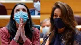 La ministra de Igualdad, Irene Montero, y la senadora del PP María Adelaida Pedrosa, este martes en el Senado durante la sesión de control al Gobierno.