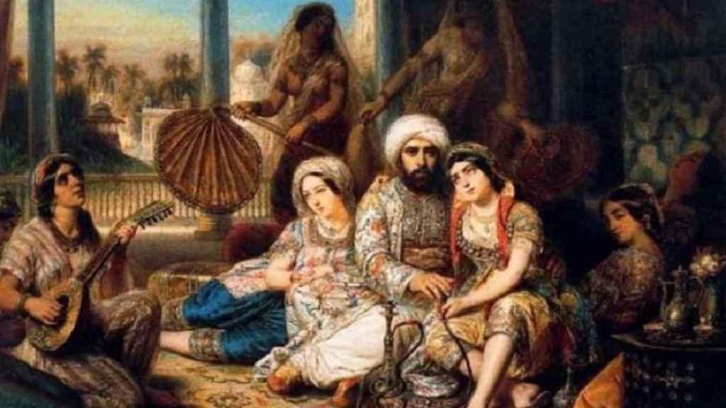 Representación pictórica de un harén otomano.
