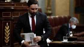Santiago Abascal, este miércoles durante la moción de censura.