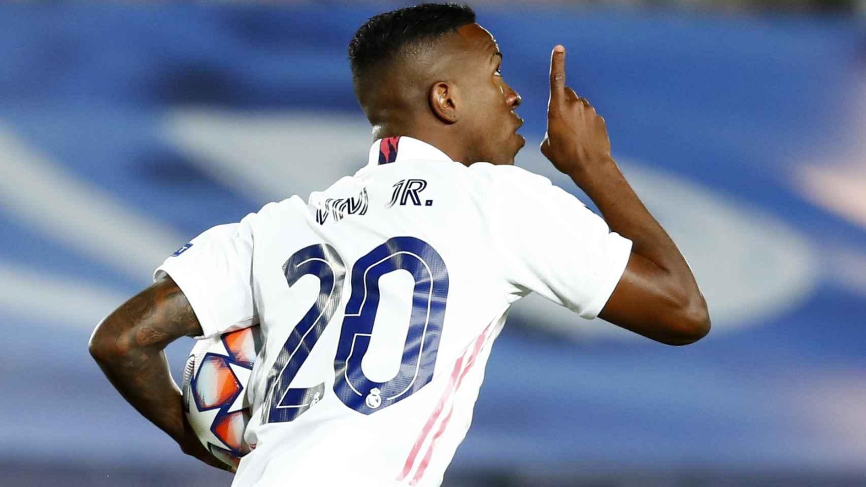 Vinicius celebra su gol ante el Shakhtar Donetsk en la Champions League 2020/2021