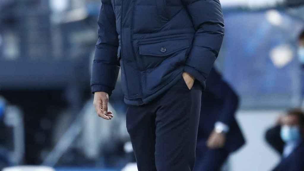 Zinedine Zidane, durante un partido del Real Madrid de la Champions League 2020/2021