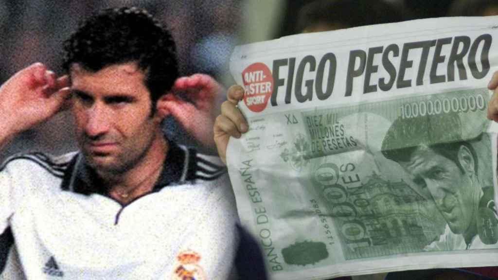 Luis Figo y las pancartas del Camp Nou en su primera visita con el Real Madrid