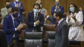 El presidente de la Junta de Andalucía, Juanma Moreno, al final del Debate de la Comunidad.