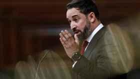 Santiago Abascal, presidente de Vox, interviene en la moción de censura.