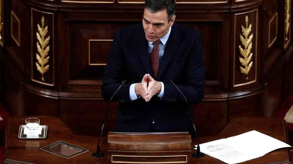 Pedro Sánchez, presidente del Gobierno, durante la moción de censura.