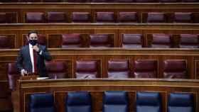 Santiago Abascal, este miércoles en su escaño del Congreso.