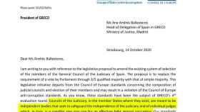 Carta del GRECO al Gobierno./