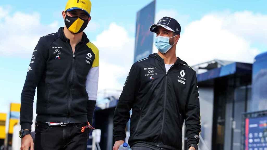 Ocon y Ricciardo en el GP de Portugal