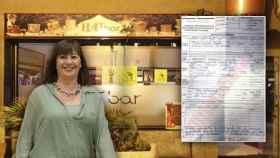 La presidenta de Baleares, la socialista Francina Armengol, en un montaje con la fachada del bar y la denuncia.