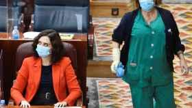 Isabel Díaz Ayuso junto a una limpiadora en la Asamblea de Madrid.