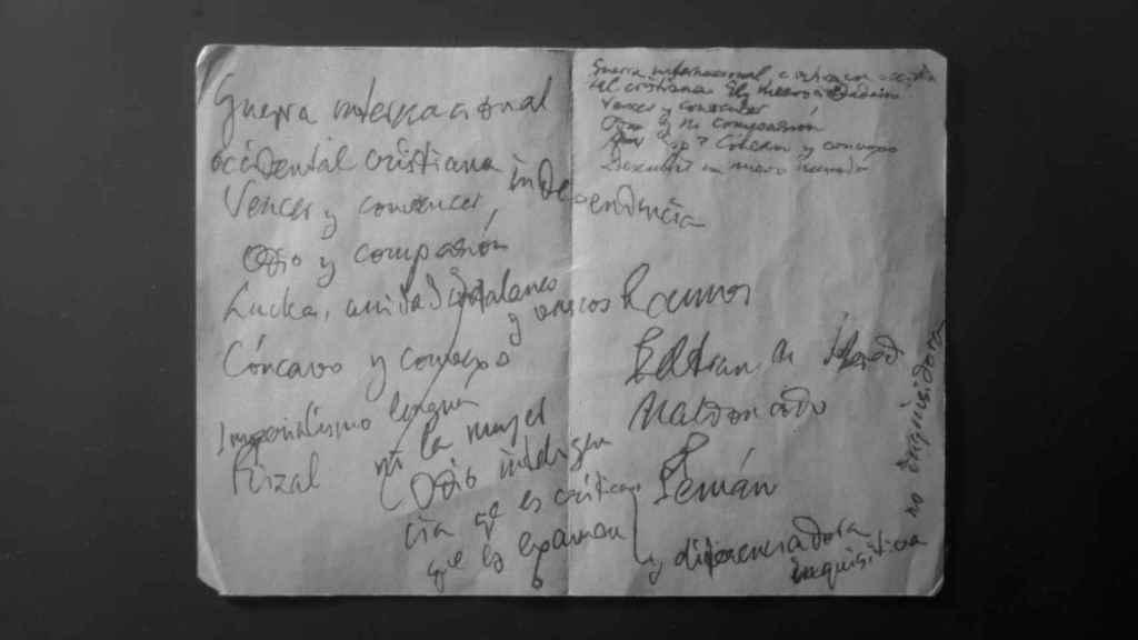 Las notas manuscritas de Unamuno para su intervención en el Paraninfo.
