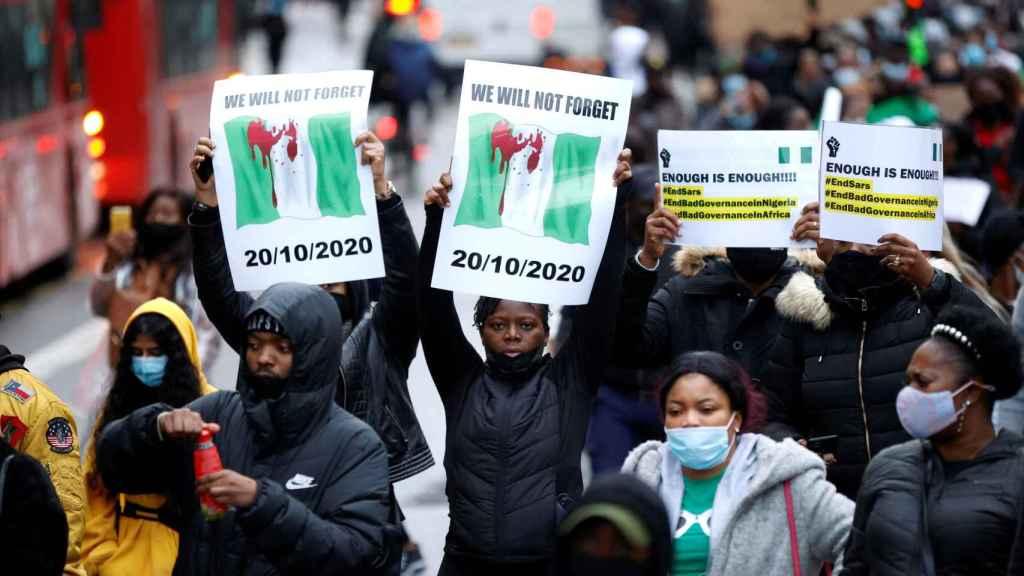 Manifestantes en Lagos durante las protestas contra el SARS.