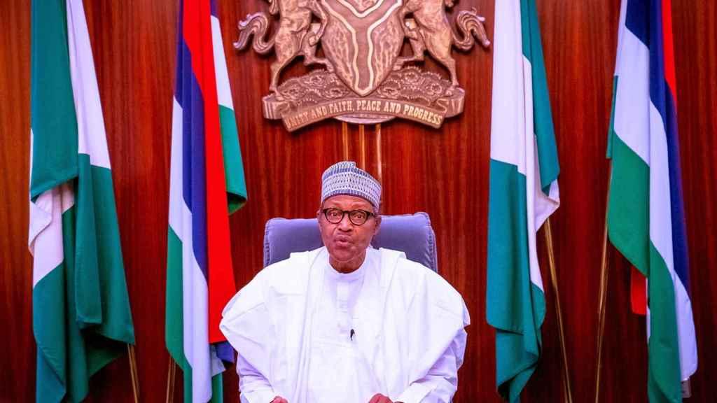 El presidente de Nigeria Muhammadu Buhari durante su discurso a la nación.