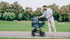 Un hombre pasea a un bebé en carrito por un parque.