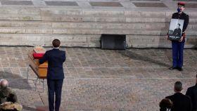 Macron en el homenaje a Samuel Paty.