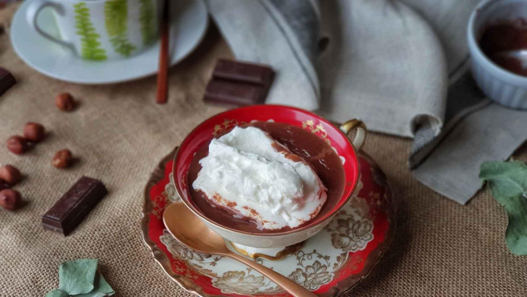 Chocolate caliente a la taza, receta con fotografías paso a paso