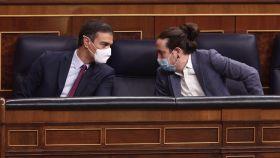 Pedro Sánchez y Pablo Iglesias, en el Congreso.