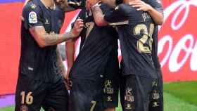Los jugadores del Alavés celebran el gol ante el Real Valladolid