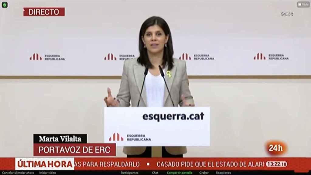 La portavoz de ERC, Marta Vilalta, durante su comparecencia frente a la prensa.