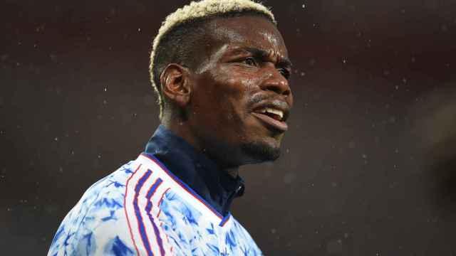 Paul Pogba, durante un calentamiento del Manchester United