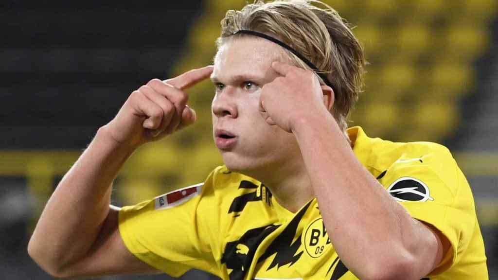 Erling Haaland celebra un gol con el Borussia Dortmund en la temporada 2020/2021