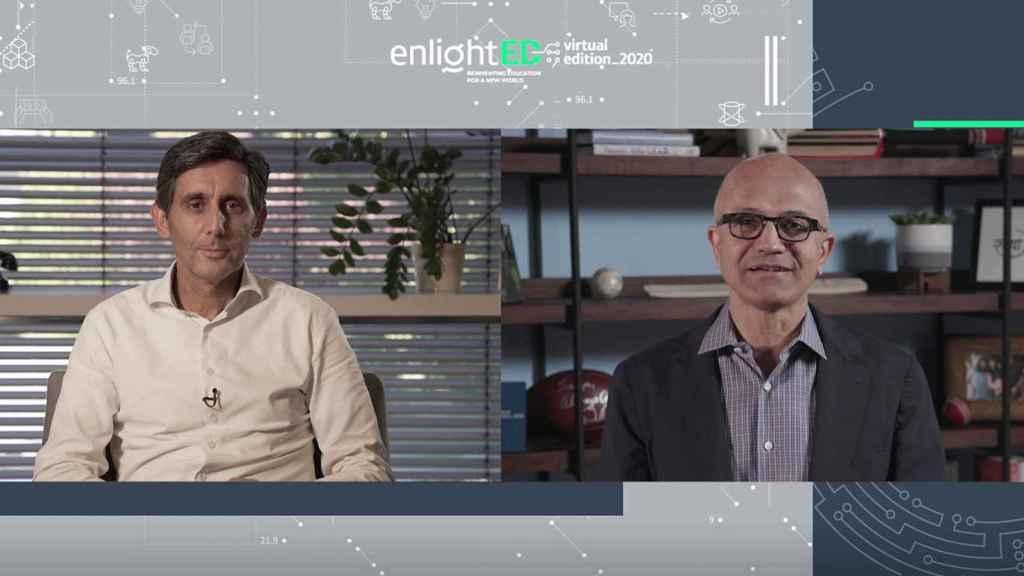 Satya Nadella, CEO de Microsoft, y José María Álvarez-Pallete, presidente ejecutivo de Telefónica, durante su intervención en EnligthED 2020.